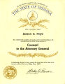 Certification of James S. Pope, Counsel to the Attorney General of Indiana, 1987
