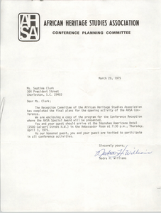 African Heritage Studies Association Conference Materials, April 1975