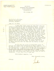 Letter from Sadie Alexander to W. E. B. Du Bois