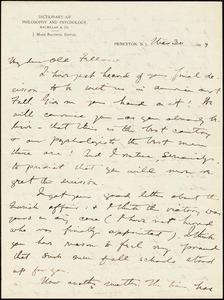 Baldwin, James Mark, 1861-1934 autograph letter signed to Hugo Münsterberg, Princeton, N.J., 30 March 1897