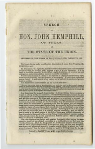 Speech of Hon. John Hemphill, of Texas, on the state of the union. Delivered in the Senate of the United States, January 28, 1861.