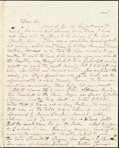 Letter from G. Evans to Samuel May, Jr., [1844?]