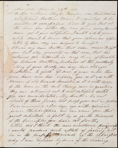 Letter from Thomas Van Rensalaer, New York, to William Lloyd Garrison, March 24th, 1839