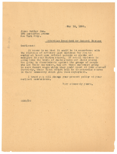 Letter from W. E. B. Du Bois to James Butler Inc.