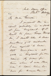 Letter from James Miller M'Kim, Phil[adelphi]a, [Pa.], to William Lloyd Garrison, Dec[ember] 16 / [18]53