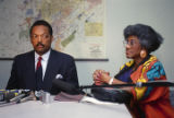 Jesse Jackson and Willie Barrow at a press conference during the annual meeting of the Southern Christian Leadership Conference (SCLC) in Birmingham, Alabama.