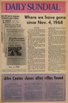 """Daily Sundial front page--""""Where we have gone since Nov. 4, 1968,"""" November 4, 1969"""