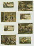 Trade cards depicting a hatching chick, a knight, balloons, swimming, fishing from a pier, African Americans : in a farm yard, holding a gun, American flag, in ragged clothes, and driving a horse drawn carriage