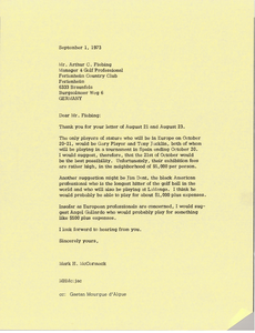 Letter from Mark H. McCormack to Arthur C. Fiebing