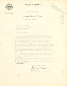 Letter from Ellis O. Knox to W. E. B. Du Bois