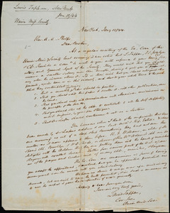 Letter from Union Missionary Society (U.S.), New York, to Amos Augustus Phelps, 1844 January 12