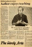 """""""Author enjoys teaching: Baldwin plans to return"""""""