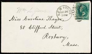 Letter from William Lloyd Garrison, Westmoreland House, New York, to Caroline Coddington Thayer, Dec. 28, 1877