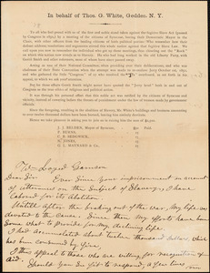 Letter from Thomas G. White, Geddes, [New York], to William Lloyd Garrison, 1878 Oct[ober] 14th