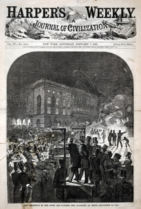 Union Meetings in the Open Air Outside the Academy of Music, December 19, 1859, from Harper's Weekly, January 7, 1860