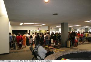 Crowd Standing in Theater Foyer Hip Hop Broadway: The Musical