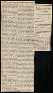 "Newspaper clipping, ""Anti-slavery Commemorations,"" Danvers, [Mass.], Apr. 29, 1893"