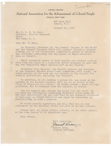 Letter from NAACP Cornell Chapter to W. E. B. Du Bois