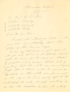 Letter from John Koning to W. E. B. Du Bois