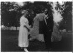 [W.E.B. Du Bois, full-length portrait, with Mary White Ovington following Spingarn awards ceremony, Atlanta, Georgia]