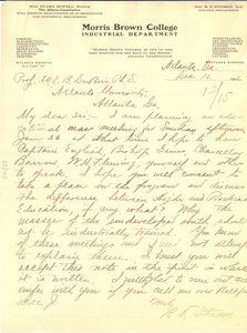 Letter from Morris Brown College Industrial Department to W. E. B. Du Bois