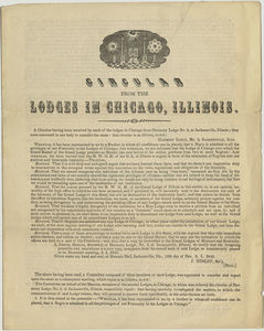 Circular from the Lodges in Chicago, Illinois
