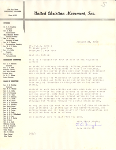 Letter from United Christian Movement, Inc. to W. E. B. Du Bois