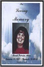 In loving memory Sarah Patricia Allen, January 18, 1957-November 30, 2012, December 5, 2012