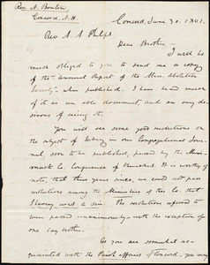Letter from Nathaniel Bouton, Concord, to Amos Augustus Phelps, June 30. 1841