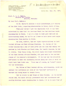 Letter from The American Board of Commissioners for Foreign Missions to W. E. B. Du Bois