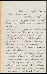 Letter from Joseph Avery Howland, Worcester, [Mass.], to Samuel May, April 21, 1887