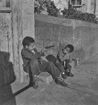 Black boys playing with toy guns, San Francisco