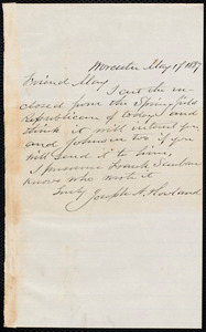 Letter from Joseph Avery Howland, Worcester, [Mass.], to Samuel May, May 17, 1887
