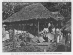 Carib house at St Vincent, British West Indies, with group of Carib making baskets