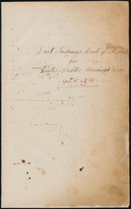 East Sudbury's book of records for births, deaths, marriages &c.c., Sept 1st 1796