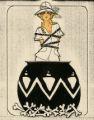 Costume design drawing, showgirl in a pot, Las Vegas, June 5, 1980