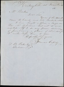Francis Cassidy, Hickory Hill, Va. [?], autograph note signed to Ziba B. Oakes, 1 December 1856