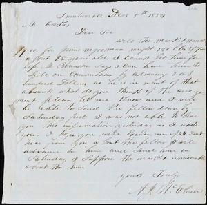 A. J. McElveen, Sumterville, S.C., autograph letter signed to Ziba B. Oakes, 5 December 1854