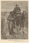 Caucasian man in horse-drawn cart passing by an African American man