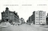 Street view of St. Benedict the Moor Institute and St. Anthony Hospital, Milwaukee, Wisconsin, Undated (1930s)