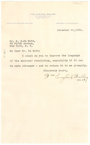 Letter from William English Walling to W. E. B. Du Bois