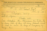 Secretary Nathaniel H. Owings telegram to Governor Watson C. Squire requesting soldiers as a precaution against anti-Chinese violence, February 9, 1886