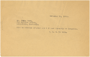 Telegram from W. E. B. Du Bois to James Bond
