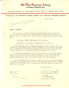 Letter from New American Library of World Literature, Inc. to W. E. B. Du Bois