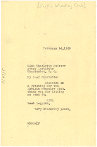 Letter from W. E. B. Du Bois to Charlotte P. DeBerry