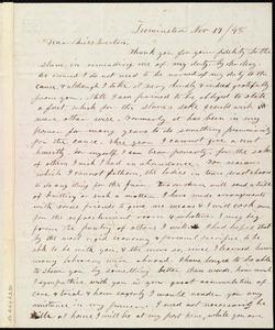 Letter from Frances H. Drake, Leominster, [Mass.], to Anne Warren Weston, Nov. 17 / [18]48