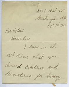 Letter from Hettie B. Lewis to W. E. B. Du Bois