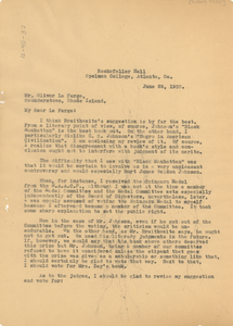 Letter from W. E. B. Du Bois to Oliver La Farge