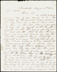 A. J. McElveen, Sumterville, S.C., autograph letter signed to Ziba B. Oakes, 10 August 1854