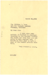 Letter from W. E. B. Du Bois to William F. Dunn
